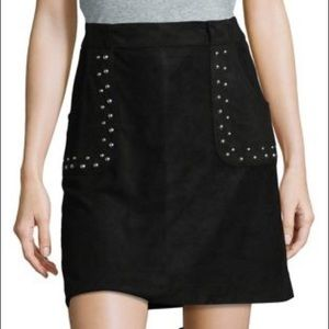 NWT BB Dakota Black suede studded skirt trendy